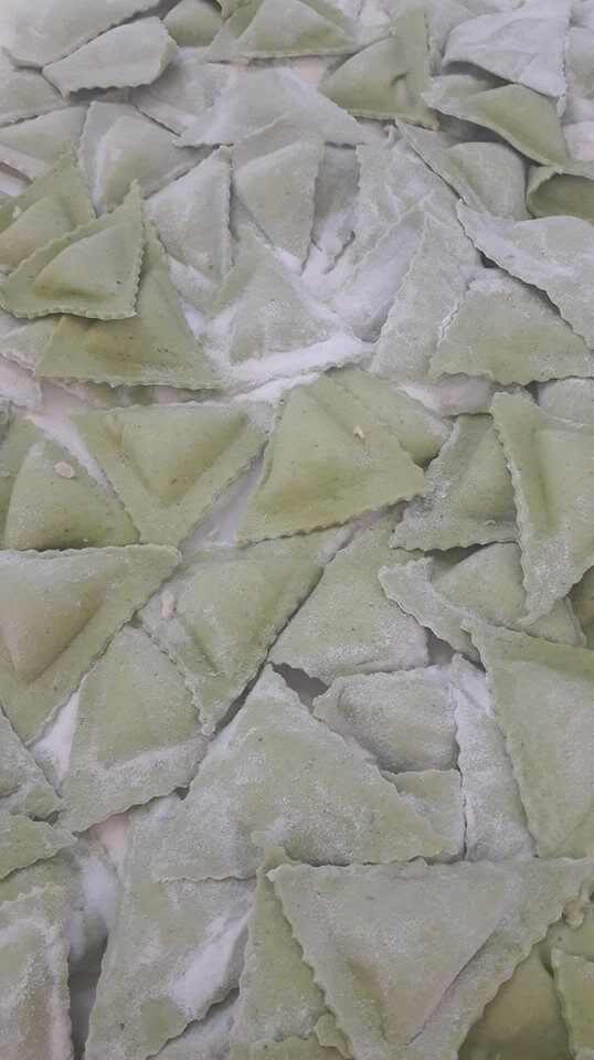 triangoli verdi spinaci
